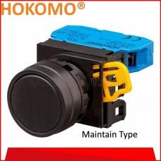 HOKOMO BLACK PUSH BUTTON FLUSH,  22MM ~ MAINTAIN TYPE ~ 1NO , (KW1B-A1E10B)