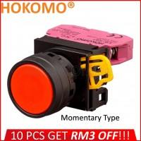 HOKOMO RED PUSH BUTTON FLUSH,  22MM ~ MOMENTARY TYPE ~ 1NC , (KW1B-M1E01R)