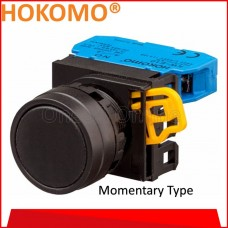 HOKOMO BLACK PUSH BUTTON FLUSH,  22MM ~ MOMENTARY TYPE ~ 1NO , (KW1B-M1E10B)