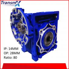 TRANSMAX WORM GEAR SPEED REDUCER, TNRV SERIES, IP 14MM~OP 28MM ~ RATIO 80, (TNRV075P160-14R80/OS28)